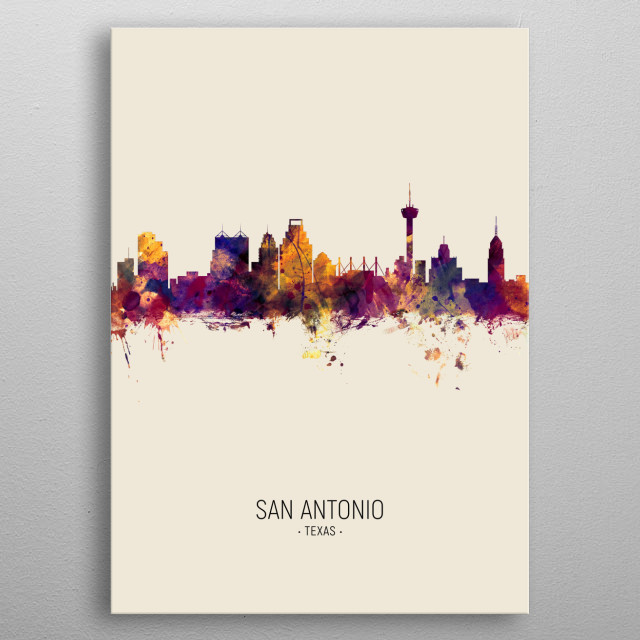 Watercolor art print of the skyline of San Antonio, Texas, United States metal poster