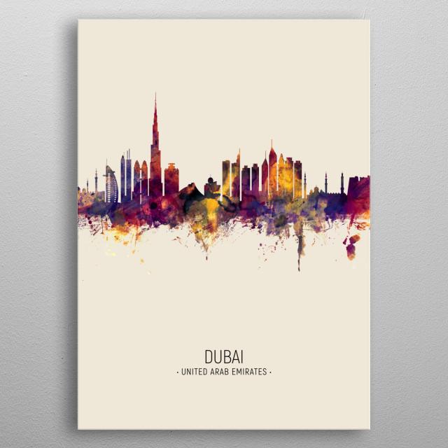 Watercolor art print of the skyline of Dubai, United Arab Emirates metal poster