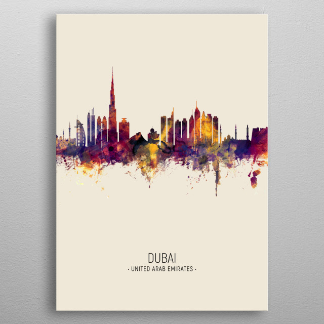 Watercolor art print of the skyline of Dubai, United Arab Emirates metal poster