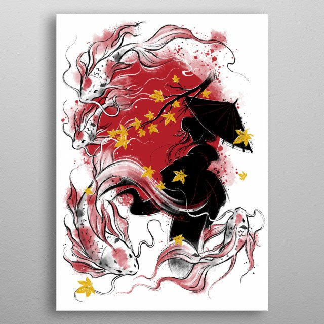Japanese autumn inspired illustration metal poster