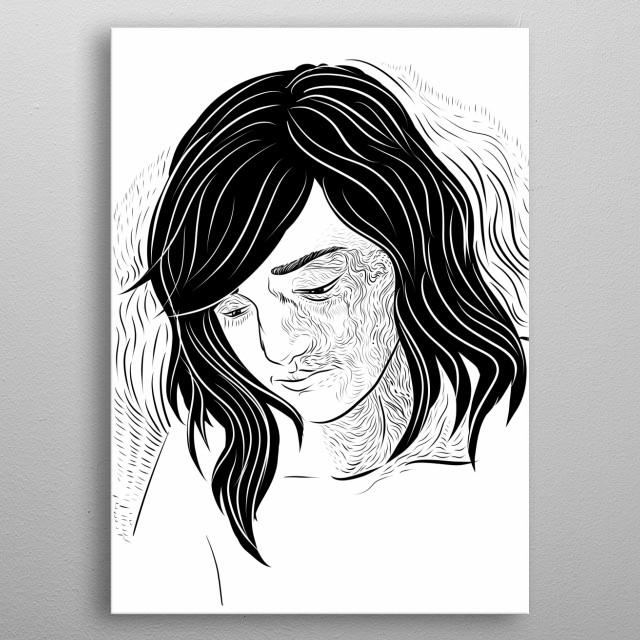 Black on white illustration of a beautiful girl whit distinct line design. metal poster