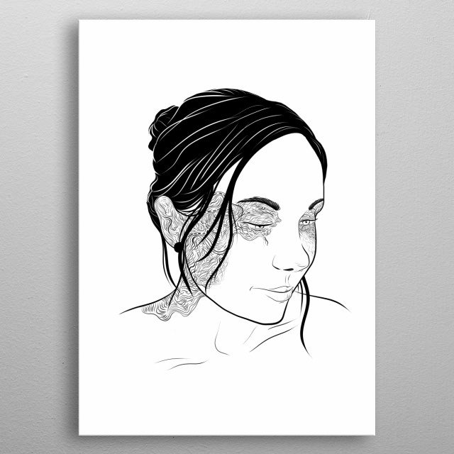 Black on white illustration of a beautiful girl whit distinct line design. metal poster