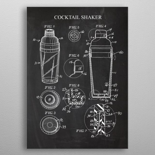 Cocktail Shaker - Patent Drawing metal poster