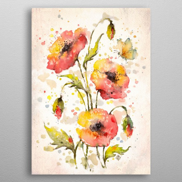 water colour painting of poppies (flowers) and a butterfly, by Sillier Than Sally metal poster