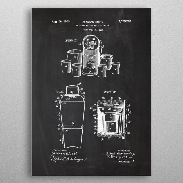 1924 Beverage Mixing and Serving Set - Patent Drawing metal poster