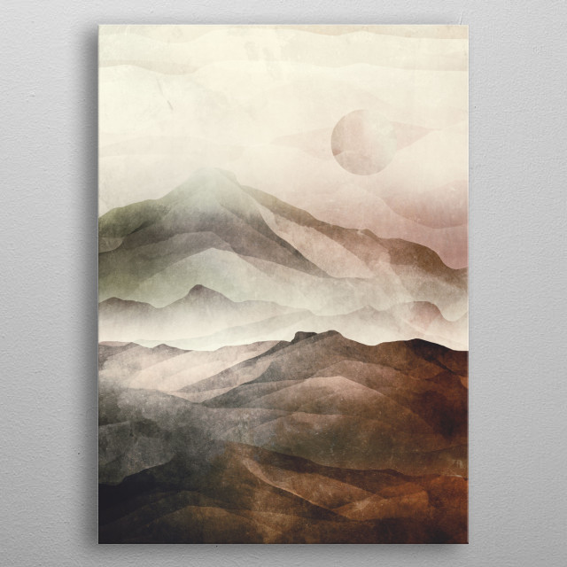 Original abstract artwork with Asian mountains feel too it. Making a spiritual statement. metal poster