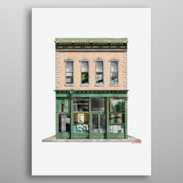 Illustrative representation of shop fronts with different architectural styles metal poster