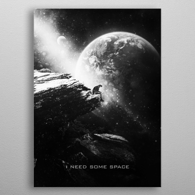 I need some space black and white edition metal poster