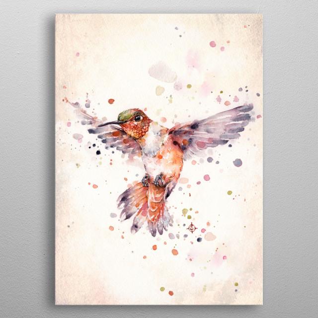 water colour painting of an orange hummingbird  metal poster