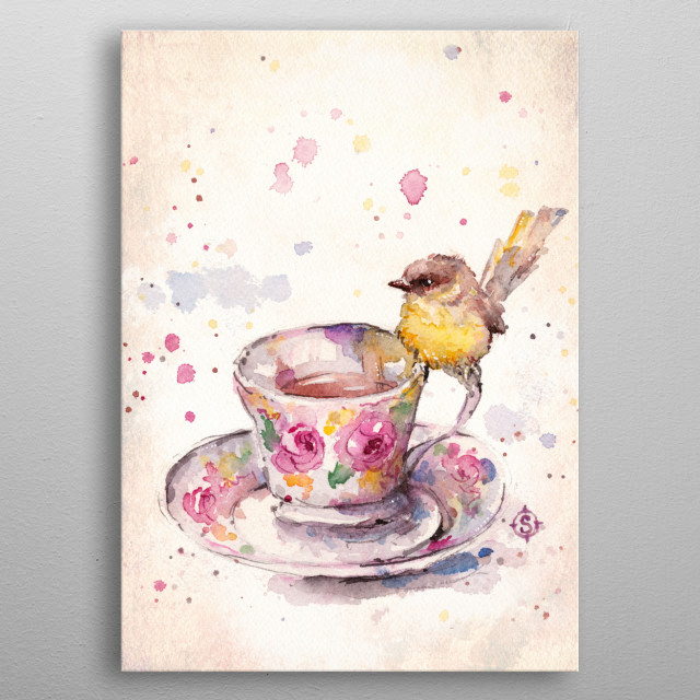 water colour painting of a cute bird on a china tea cup by Sillier Than Sally metal poster