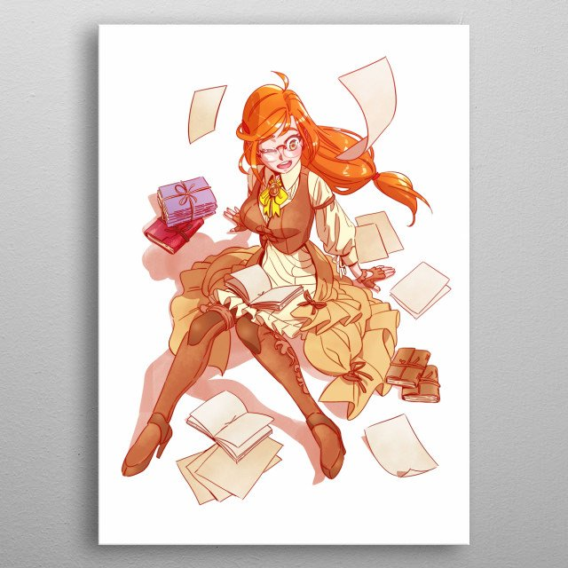 Anime steampunk craft girl. She loves paper and bookbinding. metal poster