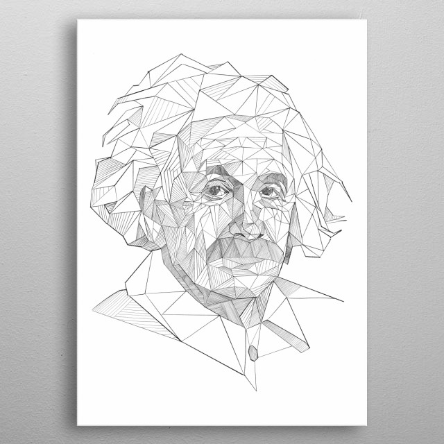 Albert Einstein triangulation drawing metal poster
