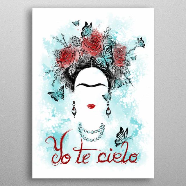 Frida Kahlo inspired illustration metal poster