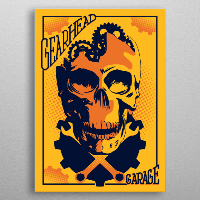 A retro comic book styled illustration of a gear head skull,  perfect  for your garage, man cave,  bar or venue. Old School Cool.   metal poster