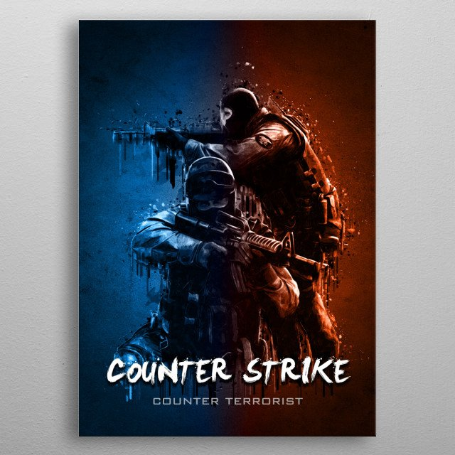 Counter Strike - Counter Terrorist with Acrylic effects metal poster