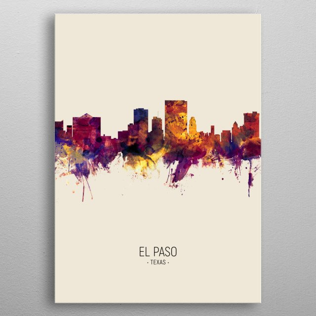 Watercolor art print of the skyline of El Paso, Texas, United States metal poster