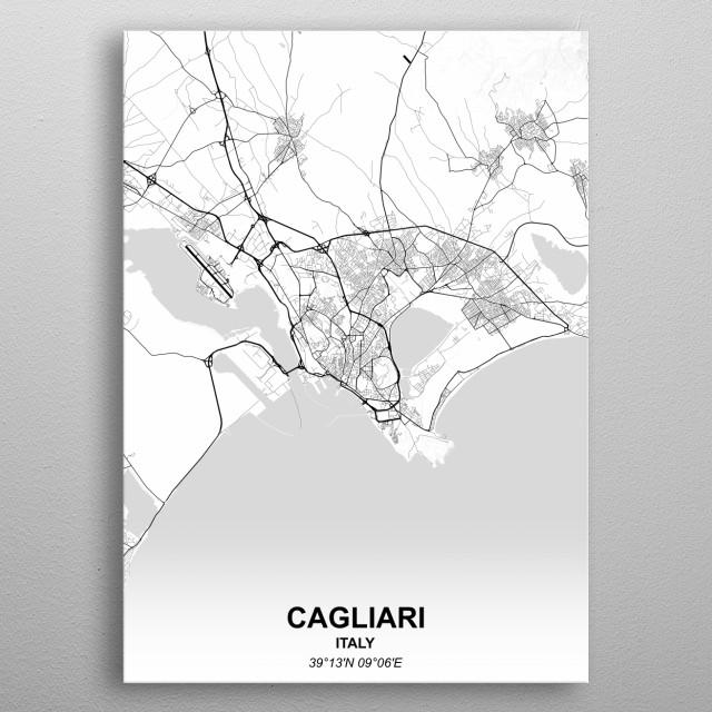 CAGLIARI  ITALY metal poster