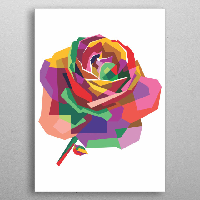 Colorful Rose Flower Design Wpap Style metal poster