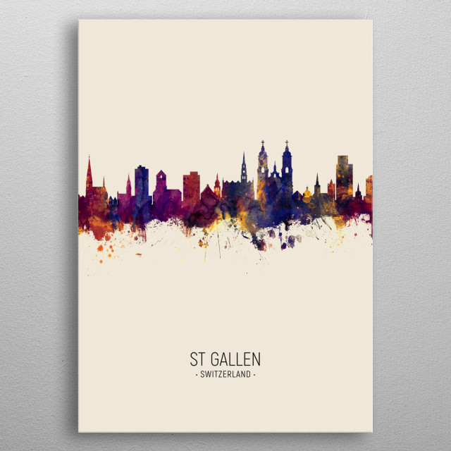 Watercolor art print of the skyline of St Gallen, Switzerland metal poster