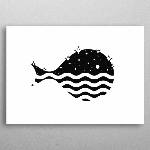 Night Whale under the stars and moon at the Ocean. Minimal black and white optical art. metal poster