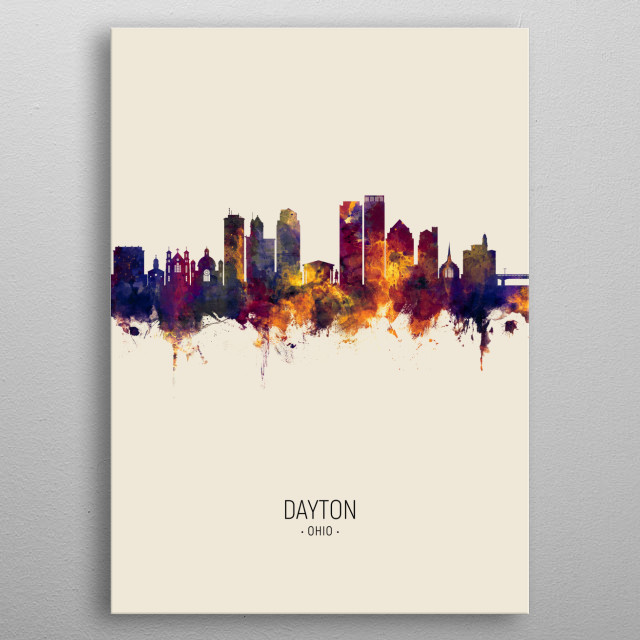Watercolor art print of the skyline of Dayton Ohio, United States metal poster