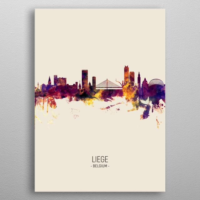 Watercolor art print of the skyline of Liege, Belgium metal poster
