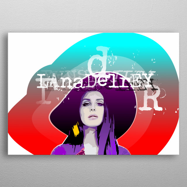 Computer graphic art print image file of famous singer in geometric colorful style. metal poster