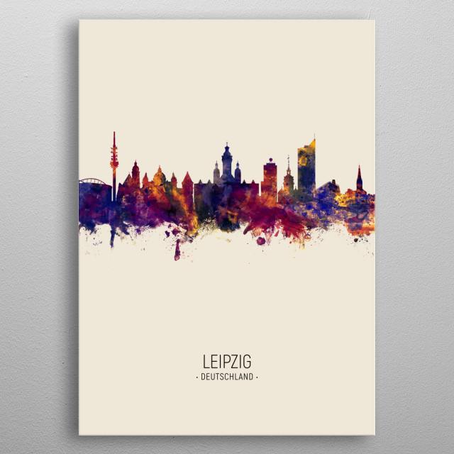 Watercolor art print of the skyline of Leipzig, Germany  metal poster