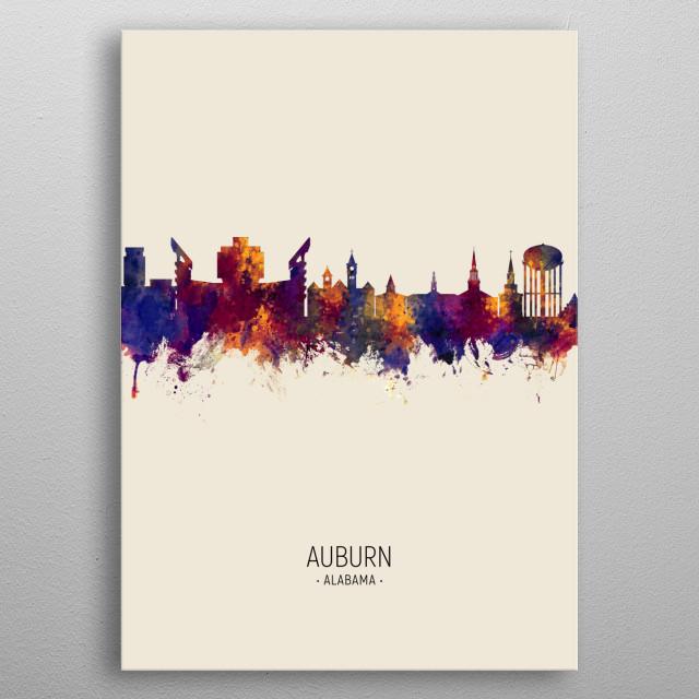 Watercolor art print of the skyline of Auburn, Alabama metal poster