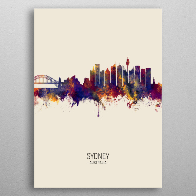 Watercolor art print of the skyline of Sydney, Australia metal poster