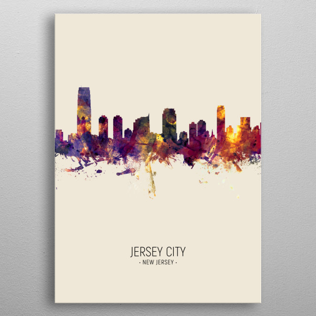 Watercolor art print of the skyline of Jersey City, New Jersey, United States metal poster