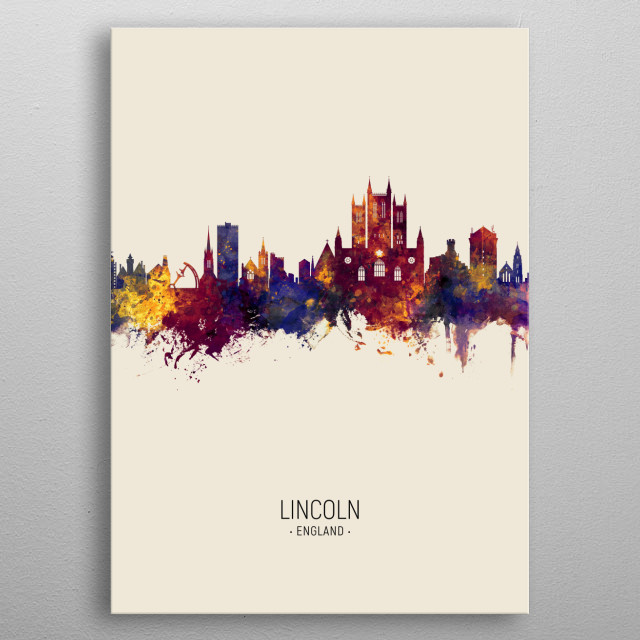 Watercolor art print of the skyline of Lincoln, England, United Kingdom metal poster