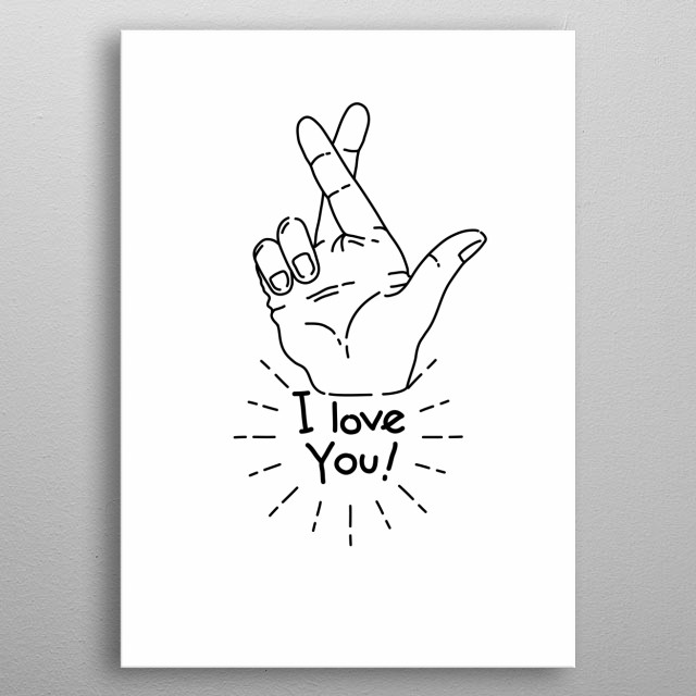 I love you crossed fingers - I love you but I lied. Minimal black and white boho and artsy design. metal poster