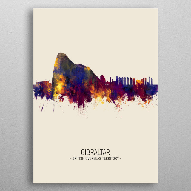 Watercolor art print of the skyline of Gibraltar metal poster