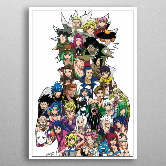 Illustration of most famous characters from Fairy Tail universe! metal poster