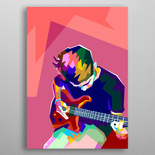 Playing Guitar Colorful Design Wpap Style metal poster