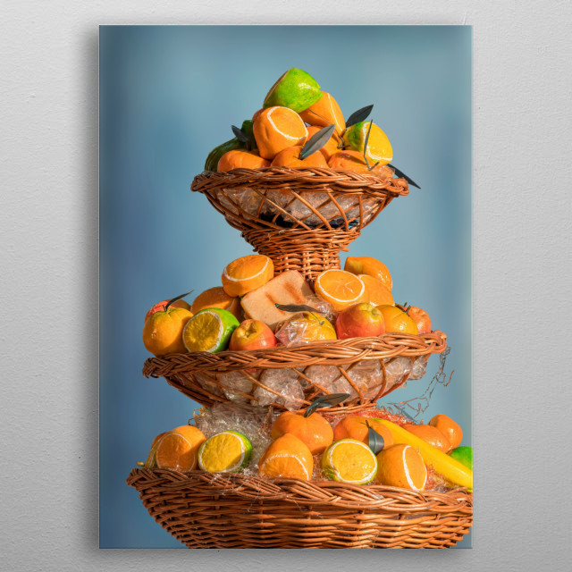 basket of fruit at holidays metal poster