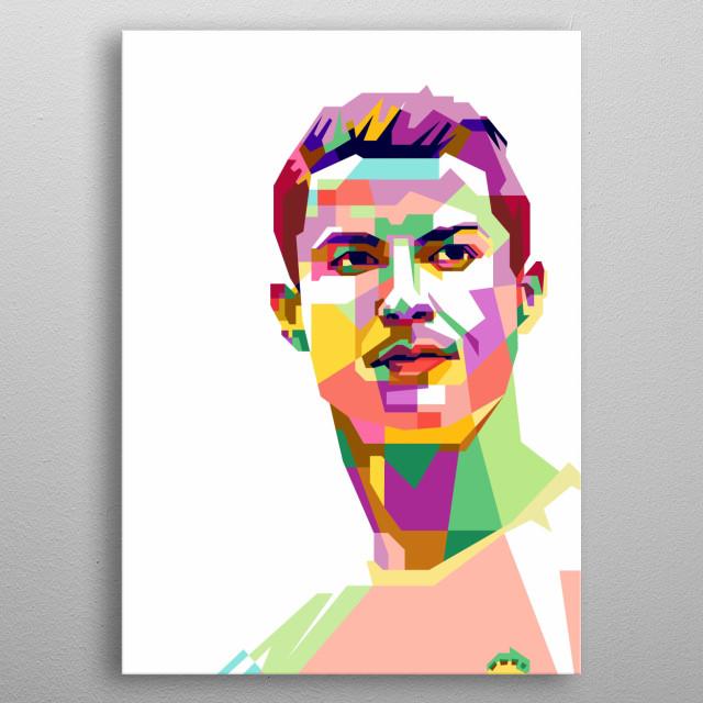 Christiano Ronaldo  Design Illustration in Wpap Style metal poster