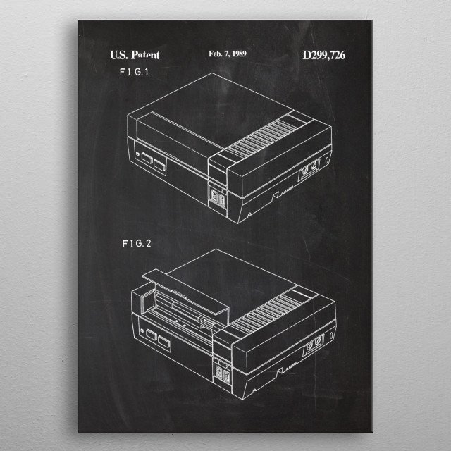 1989 Video Game Unit - Patent Drawing metal poster