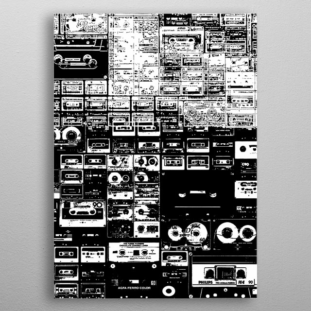 Audio Tape-Cassette-Old School-Music-80s-Boombox metal poster