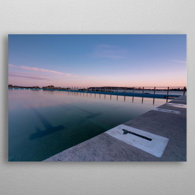 Sunset over Freshwater's ocean pool, Sydney Australia. metal poster