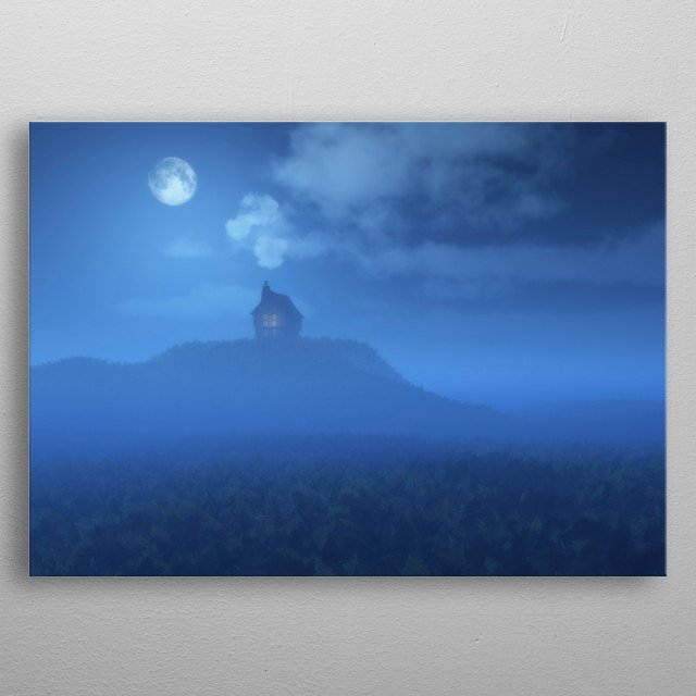 Lonely cabin in misty hilly landscape at moonlight. metal poster