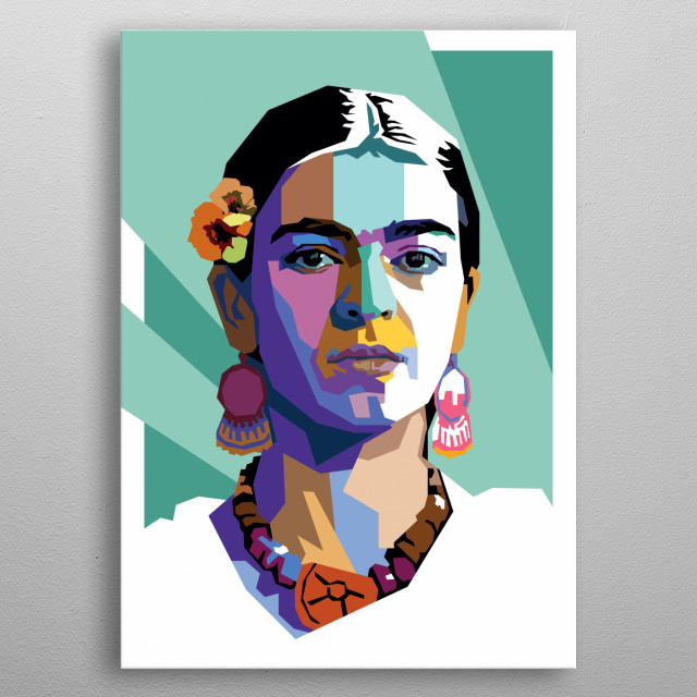 Frida Kahlo de Rivera made in WPAP style technique.  metal poster
