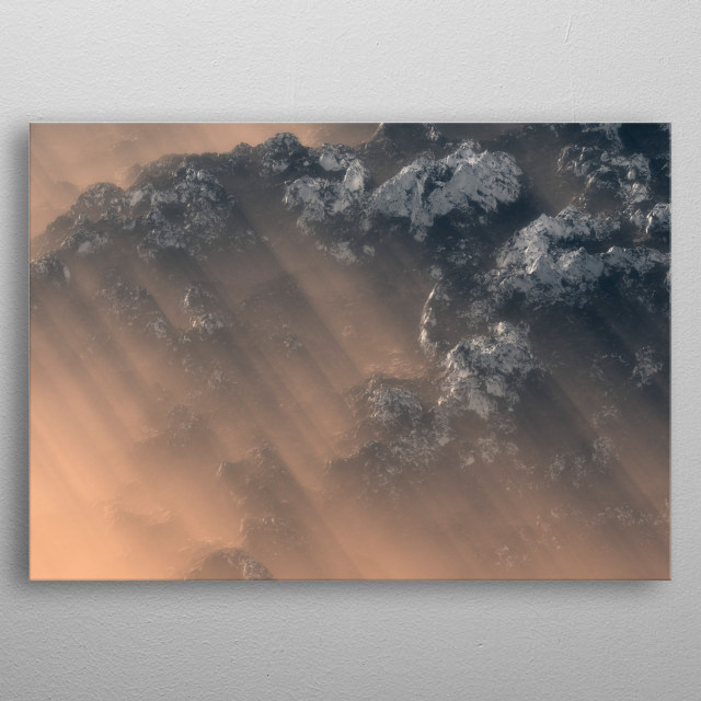 Aerial of snowy mountains in morning mist. metal poster