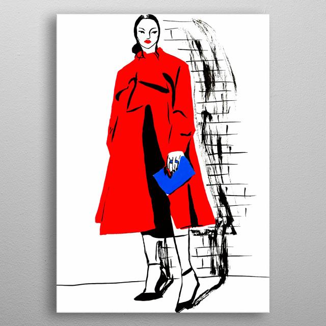 Ink on paper fashion illustration  metal poster