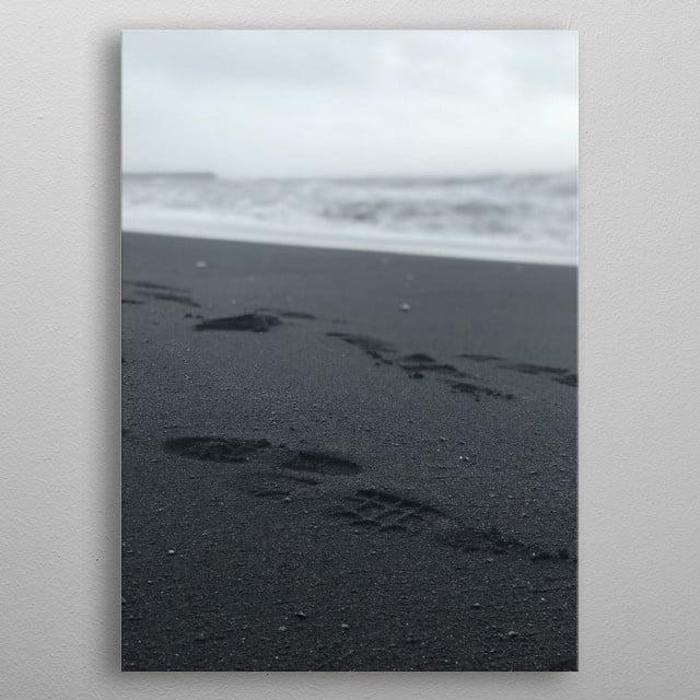 Making tracks on Black Sand Beach metal poster