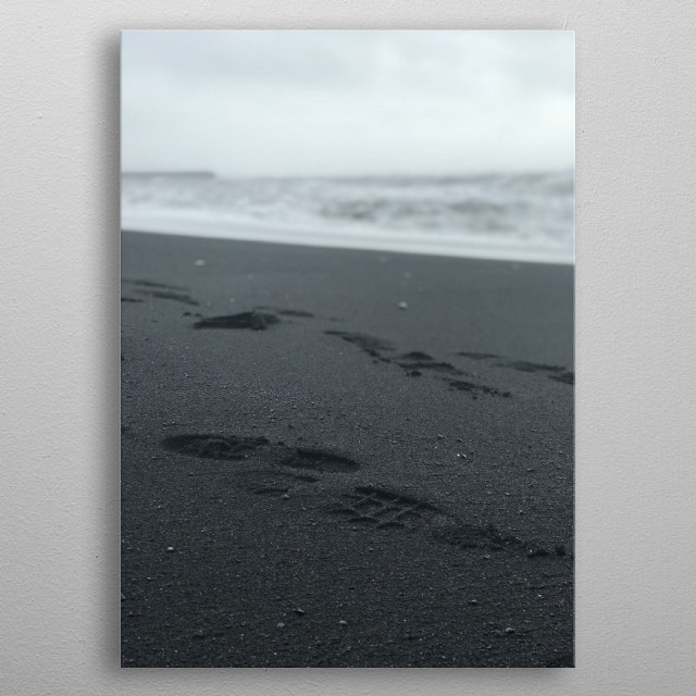 Making tracks on Black Sand Beach metal poster