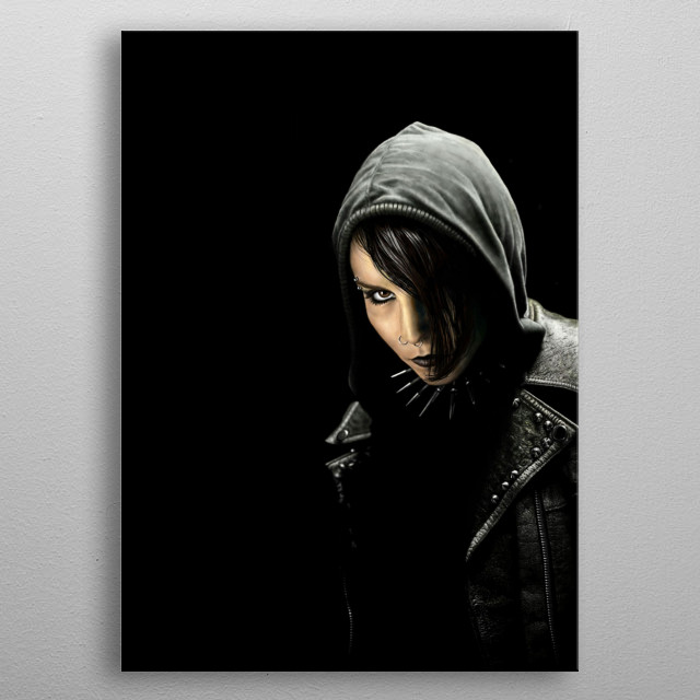 Lisbeth Salander (Noomi Rapace) of Swedish trilogy movie Millenium.  My first digital drawing. Made with photoshop metal poster
