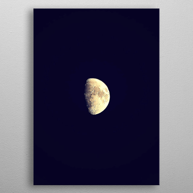 Minimalist astrophotography of half moon with an artistic brush post-processing.  metal poster
