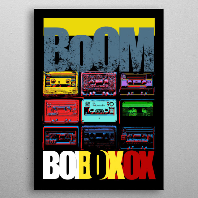 BOOMBOX Audio Tape-Cassette-Old School-Music-80s metal poster